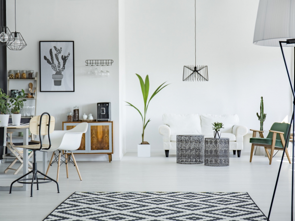 Loft interior in scandinavian style